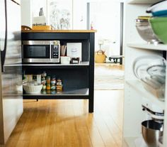 A clever small-space kitchen – use a STENSTORP kitchen island for extra work surface and to separate the cooking area from the living room | Sara's apartment, Salt Lake City