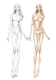 Alessia Zambonin - Practicing sketch and rendering woman base body for fashion #fashionsketch #womanfashion #bodyproportions #fasiondrawing #pantone #copic #fashionillustration #fashionmodel #girl #blonde #bikini