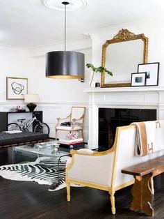 Black, white and brass living room
