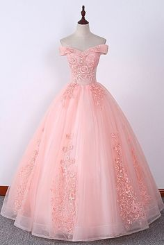 Prom dresses long pink - Pink Off Shoulder Embroidery Lace Applique Long Quinceanera Dress, Sweet 16 Prom Dress – Prom dresses long pink Quince Dresses, Ball Dresses, 15 Dresses, Elegant Dresses, Pretty Dresses, Fashion Dresses, Pink Ball Gowns, Chiffon Dresses, Formal Dresses