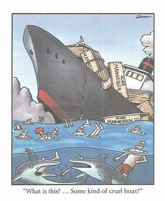 "Some kind of cruel hoax?"" ~ The Far Side by Gary Larson Lol, Haha Funny, Funny Jokes, Hilarious, Funny Stuff, Funny Shit, Funny Commercials, Funny Sarcasm, Far Side Cartoons"