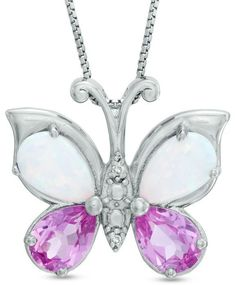 Zales Marquise-Cut Lab-Created Amethyst and Blue Topaz Butterfly Pendant in Sterling Silver N4WJ5