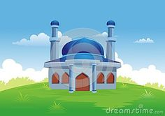 Illustration about Islamic cartoons, mosque with a backdrop of beautiful view, pretty and interesting. Illustration of ecology, celebrate, flat - 76908360 Islamic Cartoon, Natural Scenery, Mosques, Sufi, Cartoon Styles, Ecology, Muslim, Taj Mahal, Backdrops