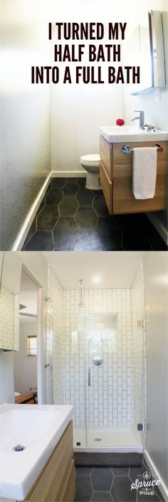 I added a shower inside my bedroom!  A 3-BEDROOM HOUSE WITH NO MASTER BATHROOM?!?  Well, check it out. My very own shower (and a pretty fancy one at that!). And we put it IN the bedroom. See the story.