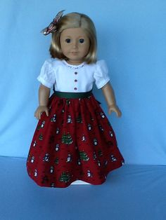 Floor length Christmas Dress for 18 inch dolls or by ASewSewShop