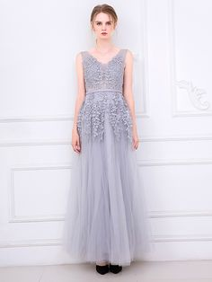 >> Click to Buy << New In Gray V-neck Chiffon Dress Embroidery Backless Tulle Maxi Prom Elegant Dress #Affiliate