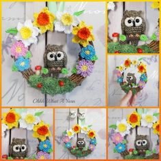 Brown owl and flowers decorative crochet wreath £27.00 Owl Who, Crochet Wreath, Owl Patterns, Beautiful Gifts, Gifts For Friends, Wreaths, Flowers, Door Wreaths, Deco Mesh Wreaths