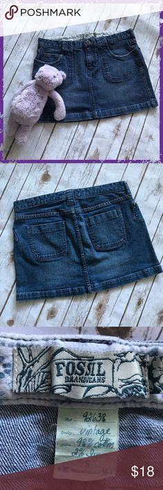 """Fossil Blue Distressed Denim Mini Skirt Size 8 98% cotton, 2% lycra, some stretch See distressing on edges of skirt and pockets Measurements: length 13"""", waist 16"""" **Please see first 2 comments** Fossil Skirts Mini"""