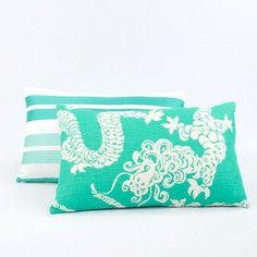 Lilly Pulitzer Dragon Pillow Cover Teal by ChloeandOliveDotCom