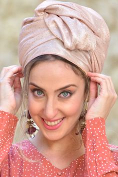 """🌻🌺A charming light pink headscarf dotted with delicate sparkles. Headscarf Tichel handmade """"Mitpachat"""" Head Covering, Scarf, Tichel, fashionable and comfortable. Beautiful color design! #turban #headwraps #hairstyles#headband #modestfashion #makeuptutorial #makeup #haircut #scarf #headscarf #tutorial #tutorialmakeup #videosfashions #easyhairstyles #badhairday Modest Fashion, Hijab Fashion, Hijab Tutorial, Bad Hair Day, Head Wraps, Easy Hairstyles, Fabric Design, Compliments, Vintage Fashion"""