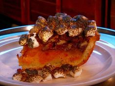 Sweet Potato Crunch Pie : Crunchy topping and torched marshmallows complete this chunky, yammy pie.
