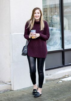 Perfect sweater for tall girls | Cable tunic turtleneck sweater for women | burgundy long sweater and leather leggings