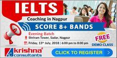 IELTS Batches at Sadar, Nagpur - Krishna Consultants Expert coaching to score 8+ Bands in #IELTS  Register Now : https://bit.ly/2JhXC2b Date: Fri, 13th July 2018 Time: 6:00 pm to 8:00 pm Venue: Shriram Tower, #Sadar, Nagpur  #IELTSCoachinginNagpur #KrishanConsultants #Sadar