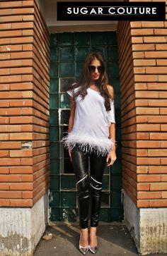 leather leggings zipper black pants fashion feather white