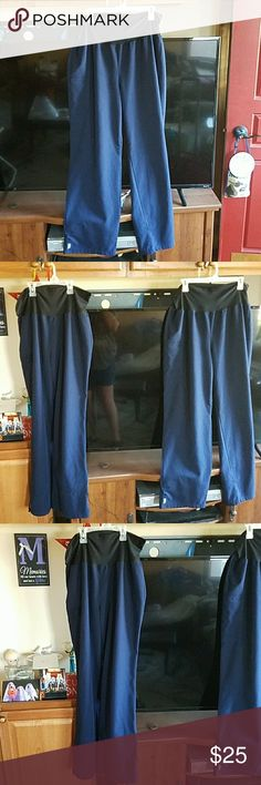 Two navy blue maternity scrub pants sz L Excellent condition, two navy blue scrub pants, pockets on right side. The price is for both pair of pants unless you would like me to make a separate listing. 2 for $25. ave Pants