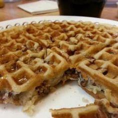 Waffle House Toasted Pecan Waffles  Copycat Recipe   1 1/2 cups all-purpose flour  1 teaspoon salt  1/2 teaspoon baking soda  1 ...