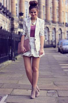 printed skirt suit + metallic collar
