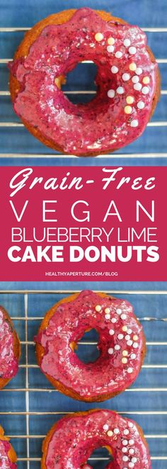 Grain-Free Vegan Blueberry Lime Cake Donuts and a hot cup of coffee is ...