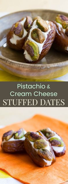 Pistachio Cream Cheese Stuffed Dates - an easy snack recipe with only three ingredients. A simple lunchbox or after school snack, or serve on a fruit and cheese platter for a party appetizer.