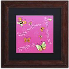 Trademark Fine Art Pink Butterfly Girl Birthday Canvas Art by Jennifer Nilsson, Black Matte, Wood Frame, Assorted