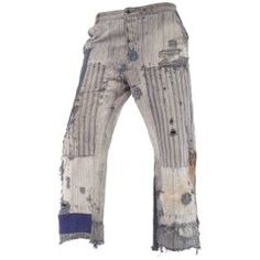 For Sale on - An incredible pair of antique patched work trousers with innumerable levels of distressed wear, patches, and hand darned repairs, phenomenal. Fashion Art, Fashion Outfits, Fashion Design, Fashion Ideas, Work Trousers, Pants, Vintage Outfits, Vintage Fashion, Clothing And Textile