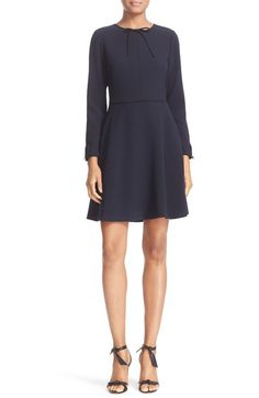 Ted Baker London 'Loozy' Long Sleeve Tie Neck Fit & Flare Dress available at #Nordstrom