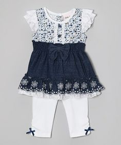 Look what I found on #zulily! Denim Floral Tunic & White Leggings - Infant, Toddler & Girls by Little Lass #zulilyfinds
