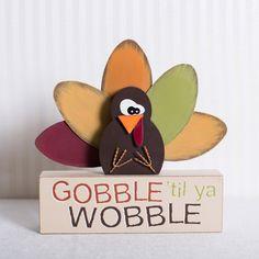 """10""""x10""""x1.5"""" wood brick w/turkey (GOBBLE TIL YA WOBBLE) multi color - Krumpet's Online"""