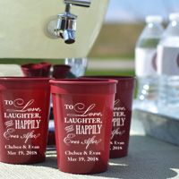 Personalized maroon 12 ounce stadium cup shown with design 2223, white imprint color, and two lines of text in the Strong letter style