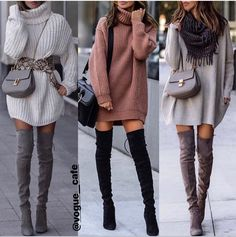 Pulloverkleider und Overknee Stiefel boots Source by giuljanawi sweater dress outfits boots Casual Winter Outfits, Winter Fashion Outfits, Classy Outfits, Cute Fashion, Look Fashion, Stylish Outfits, Autumn Winter Fashion, Unique Fashion, Beautiful Outfits
