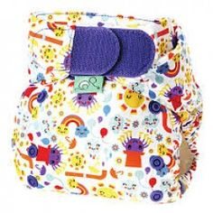 This Incy Wincy Spider Easyfit V4 diaper by Tots Bots features smiling purple spiders in top hats, happy suns beaming, and mischievous rain clouds and rainbows make this a fun cloth diaper choice!