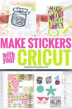 This tutorial is so well explained. I can't wait to make all sorts of stickers with my Cricut How To Use Cricut, How To Make Stickers, Cricut Help, Cricut Craft Room, Cricut Vinyl, Cricut Air, Cricut Tutorials, Cricut Ideas, Bujo