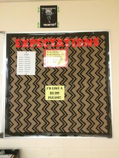 """Class expectations and """"redo"""" area for sloppy or incomplete work #chevrontheme #teacherbulletins #middleschool"""