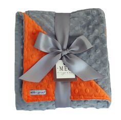 Silvery Gray and Orange Minky Baby Blanket for Baby Boy or Baby Girl-Personalization Available!