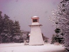 A lighthouse during winter on Prince Edward Island