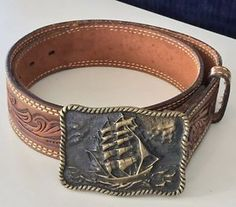 Southwestern Belts Sz 32 Artwork Leather BTS Brass Buckle with SHIP Vessel Boat | eBay