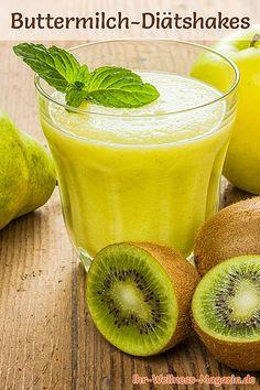 Buttermilch-Shake mit Birne, Kiwi und Apfel