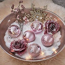Kugel Ornament Glas D 8cm Altrosa Depot De Christbaumkugeln Dekoschale Und Weihnachten Dekoration