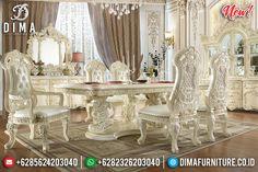 New Desain Meja Makan Mewah Jepara White Duco Ivory Luxury Carving Classic BT-0805