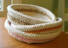 Oh the Cuteness!: How to Crochet a Basket, Part One.--Try with plastic bags or old t-shirts cut into long strips.