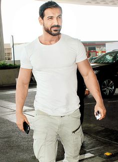 John Abraham at the Mumbai airport. #Bollywood #Fashion #Style #Handsome