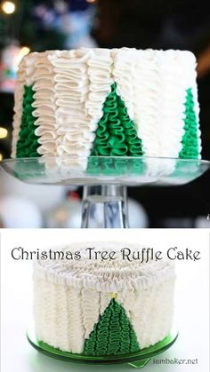 Christmas Tree Ruffle Cake , An amazing ruffle cake idea you must try! Christmas Tree Ruffle Cake is the best dessert recipe with a surprise inside that youll surely love. Make this easy dessert to impress your guests! Save this pin for later! Christmas Tree Cake, Christmas Cake Decorations, Christmas Sweets, Holiday Cakes, Christmas Desserts, Christmas Baking, Holiday Foods, Best Dessert Recipes, Fun Desserts