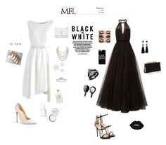 """Black vs. white"" by minna-gielen ❤ liked on Polyvore featuring Christian Louboutin, Chicwish, Jenny Packham, Jimmy Choo, Giuseppe Zanotti, Casetify, Yves Saint Laurent, DaVonna, Essie and Calvin Klein"