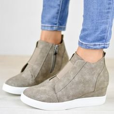 Comfort Zipper Wedge Sneakers Plus Size Wedges with Side Zipper – Mollyca
