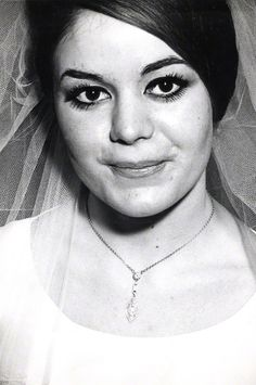 Lovely close-up of Mrs Frances Kray on her wedding day. Gorgeous shot!  Frances Shea on her wedding day to Reggie Kray, 1st April 1965. A year later she tried to have the marriage annulled for non-consummation and a year after that, in 1967, she killed herself. Photograph by David Bailey.
