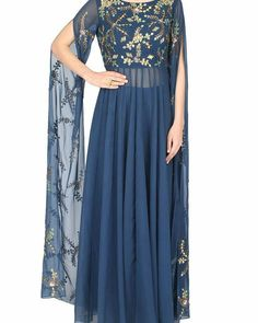 1600 AD Naisha Nagpal presents Blue cape sleeves anarkali suit with palazzo pants available only at Pernia's Pop Up Shop. Indian Gowns, Indian Outfits, Indian Wear, Anarkali, Lehenga, Hippy Chic, Sleeves Designs For Dresses, Cape Dress, Bridal Outfits