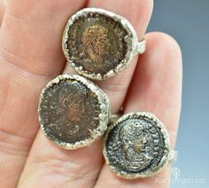 Genuine Roman Coin Ring in Silver Made to Order / by Alaridesign