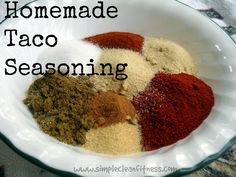 Homemade Taco Seasoning - 21 Day Fix Recipes - Clean Eating Recipes Healthy Recipes - Dinner - Lunch  weight loss www.simplecleanfitness.com