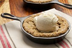 Mini Skillet Chocolate Chip Cookies are great for sharing or for when you have a big cookie craving!