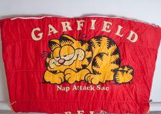 Vtg Garfield Childrens Sleeping Bag Slumber Party Camping Outdoors Blanket Bed  #Garfield